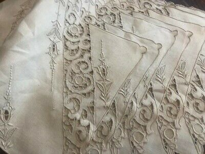 8 pc Antique Ecru Cutwork Embroidered Madeira LINEN Table Mat Vintage SET 17X10