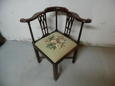 Mahogany Corner Chair Chippendale Style Vintage needlepoint seat
