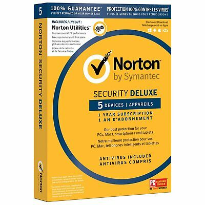 Norton Security Deluxe Utilities (PC/Mac) - 5 Devices - 1 Year Subscription - En