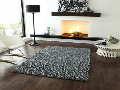 Pebbles 100% Hand Knotted Wool Heavy Weight Grey Shaggy Rug