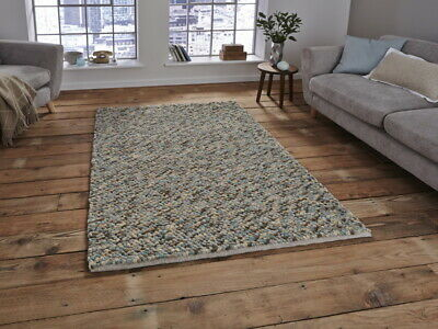 Pebbles 100% Hand Knotted Wool Heavy Weight Light Blue Shaggy Rug