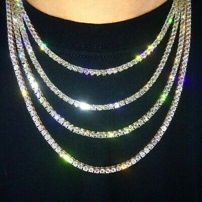 ✔️1 Row Lab Diamond Iced Out Chain Men's HipHop Tennis Necklace  New 18 to 24''