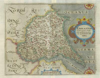 1607 - RARE 1st Edition Antique Map YORKSHIRE EAST RIDING Saxton Kip/Hole