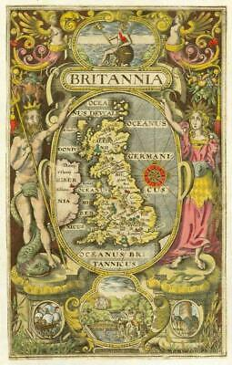 1607 RARE 1st Edition Antique Map BRITAIN Britannia Saxton Frontispiece Kip/Hole