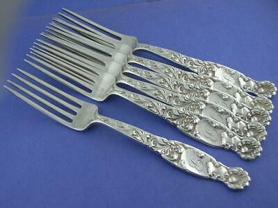 6 Sterling WHITING Luncheon Forks HERALDIC 1880 w/ knights head