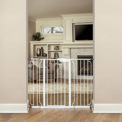 Regalo Metal Frame Easy Setup Adjustable WideSpan Extra Tall Baby Gate, White