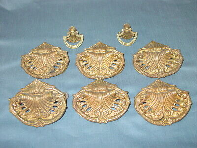 Antique Brass Drawer Pulls Shell Dragon Lion Vintage Hardware lot of 8