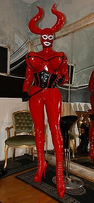 CROSSDRESSINGMODE LACK wie LATEX Catsuit Torpedo nach Mass schwarz rot