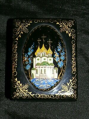 Palech russische Lackdose Lack Kunst Russland mit Kathedrale Kirche signiert