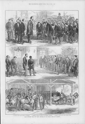 1875  Antique Print - CHINA Yokohama Peace Okubo Townhall Jeddo Station  (167)