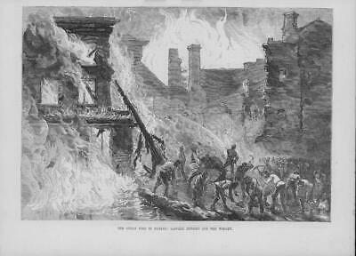 1875 Antique Print - IRELAND DUBLIN Great Fire Whisky Distillery Sappers (126)