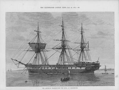 1875 Antique Print - SHIPPING KENT GREENHITHE Arethusa Training Ship (24)