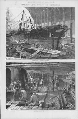 1875 Antique Print HAMPSHIRE PORTSMOUTH Dockyard Discovery Polar Expedition (204