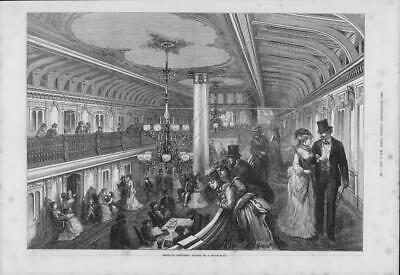 1875  Antique Print - USA Saloon Steam Boat Balcony Ladies Men Top Hats   (258)
