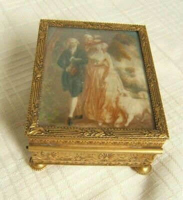 Vintage Antique French Box With Courting Scene & Dog Gilt Brass