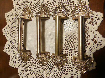 FOUR Ornate Antique Cast Bronze Brass Sash Lifts Drawer Pulls Handles 3/3 AA