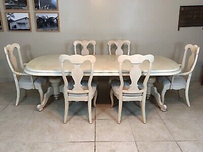 Henry Link French Provincial Louis Xv Dining Room Table Set Of 6 Mahogany Chairs 760 00 Picclick