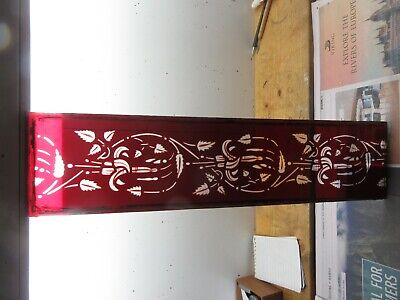 Beautiful Unique Vintage Victorian Ruby Glass Cut Etched Decorative Floral Panel