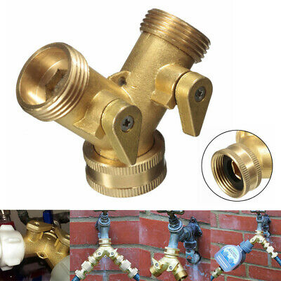 "3/4"" Solid Brass Double Two Way Garden Tap Connector Adaptor Hose Splitter US"