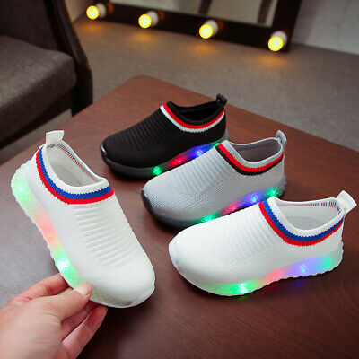 Baby Kids Boys Girls Trainers Shoes Toddler Children LED LIGHT UP Casual Sneaker