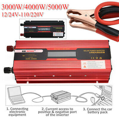 3000W/4000W/5000W Car Solar Power Inverter DC12/24V To AC110V/220V USB Converter