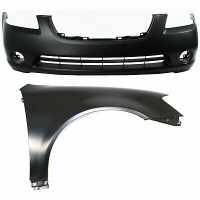 Bumper Cover Kit For 2010-12 Altima Models With Fog Light Holes CAPA Front 2pc