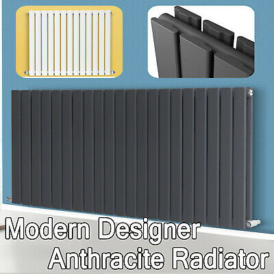 Anthracite Designer Radiator Horizontal Flat Panel Oval Column Central Heating