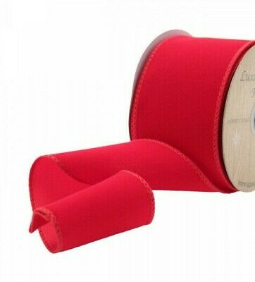 1 metre - 63mm wide WIRED EDGE RED VELVET RIBBON XMAS WEDDING WREATHS BOWS