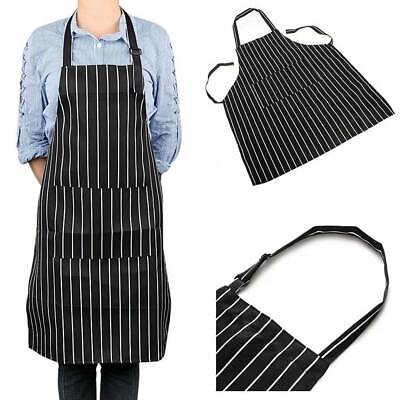 Apron Washable Pocket Waiter Chef Kitchen Cooking Striped Black White Bib AU