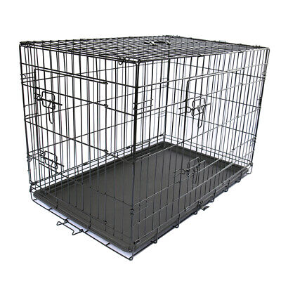 "24"" Metal Dog Cage Puppy Pet Small Folding Crates 2 Door Training Carrier Black"