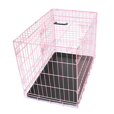 "Dog Puppy Metal Cage Pet Training Crates 30"" Foldable Carrier with Tray Pink"