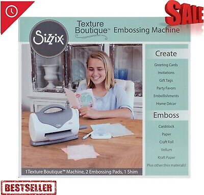 Sizzix 660950 Texture Boutique Embossing Machine White//Gray