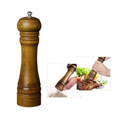 """8"""" Protable Refillable Wooden Salt and Pepper Mill Spice Herb Grinder Cafe"""
