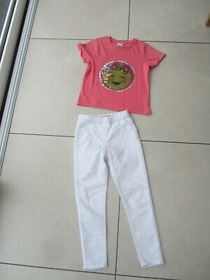 Girls 8 Year Old Matching Outfit White Jeggings And Emoji Sequin Changing Top