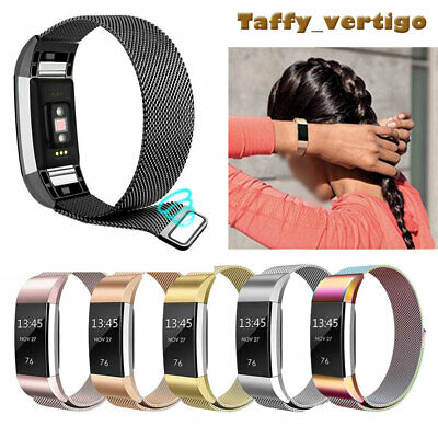 Steel Stainless Magnet Milanese Replacement Wristband  Strap For Fitbit Charge 2
