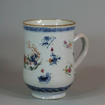 Antique Chinese famille rose and underglaze blue tankard, 18th Century