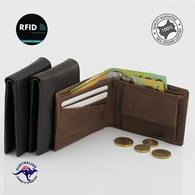Men's RFID Genuine RUGGED HIDE Leather Small Slim Wallet Notes 3 Cards Coins N