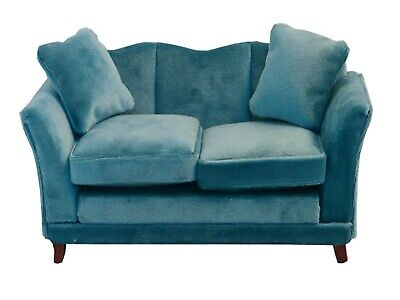 Dolls House Emporium 1//12th Scale Royal Blue Modern Sofa with Matching Footstool