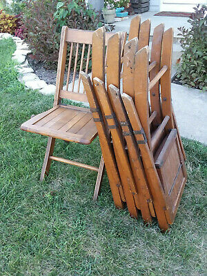 Wooden folding Chairs - Vintage - matching set of 5