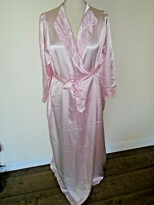Vintage M&S Silky Feel Pale Pink Full Length Nightgown and Robe- Size 10/12