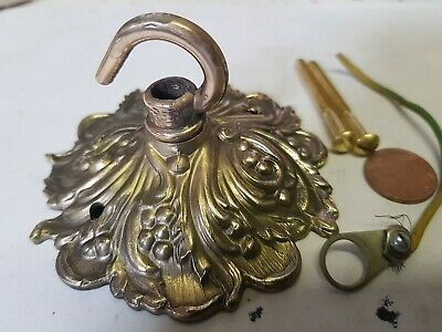 vintage ORNATE CEILING ROSE 90mm French chandelier hook OLD Cast brass ? c1940