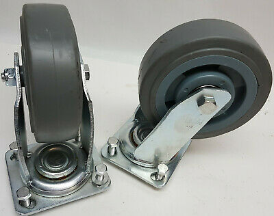 """Pair (2) tool box cabinet or workbench ball bearing swivel 6"""" casters w/ flange"""
