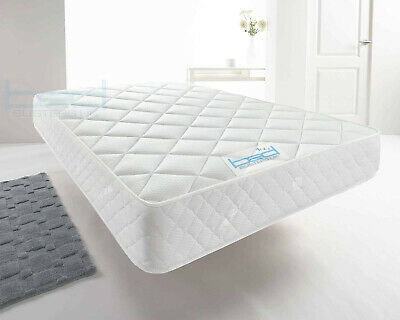 White Memory Foam Quilted Sprung Mattress Single 3ft, Double 4ft6, King 5ft