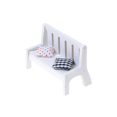 1pc Garden Bench Dollhouse Miniature Furniture 1/12 Scale Wood w/ Cushions SLUS
