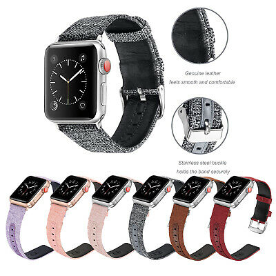 Nylon Fabric Canvas Sports Leather Strap Band For Apple Watch 4/3/2/1 42mm 38mm
