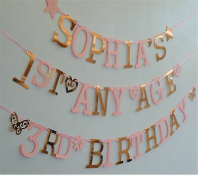 PERSONALISED GIRLS birthday banner BUNTING decoration Name Age PINK ROSE GOLD