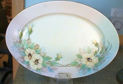 1957 FLORAL OVAL SERVING PLATTER BARONET CHINA ESCHENBACH BAVARIA GERMANY jh