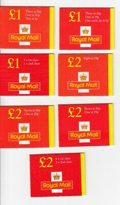 GB  Folded Booklets  £1 & £2  Small Red Covers FH40-FW12  Including Cylinders