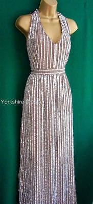 New NEXT Uk 18 Mink Beige Champagne Sequin Halter Maxi Long Prom Evening DRESS
