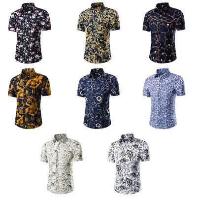 Mens Slim Fit Floral Shirt Short Sleeve Hawaiian T-Shirts Tops Beach Summer UK